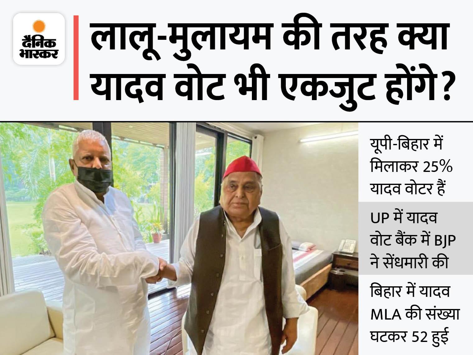 महज चाय पीने के लिए नहीं मिले दो दिग्गज नेता, यूपी चुनाव से पहले एकता दिखाकर यादव वोट को बिखरने से रोकने की कोशिश|देश,National - Dainik Bhaskar