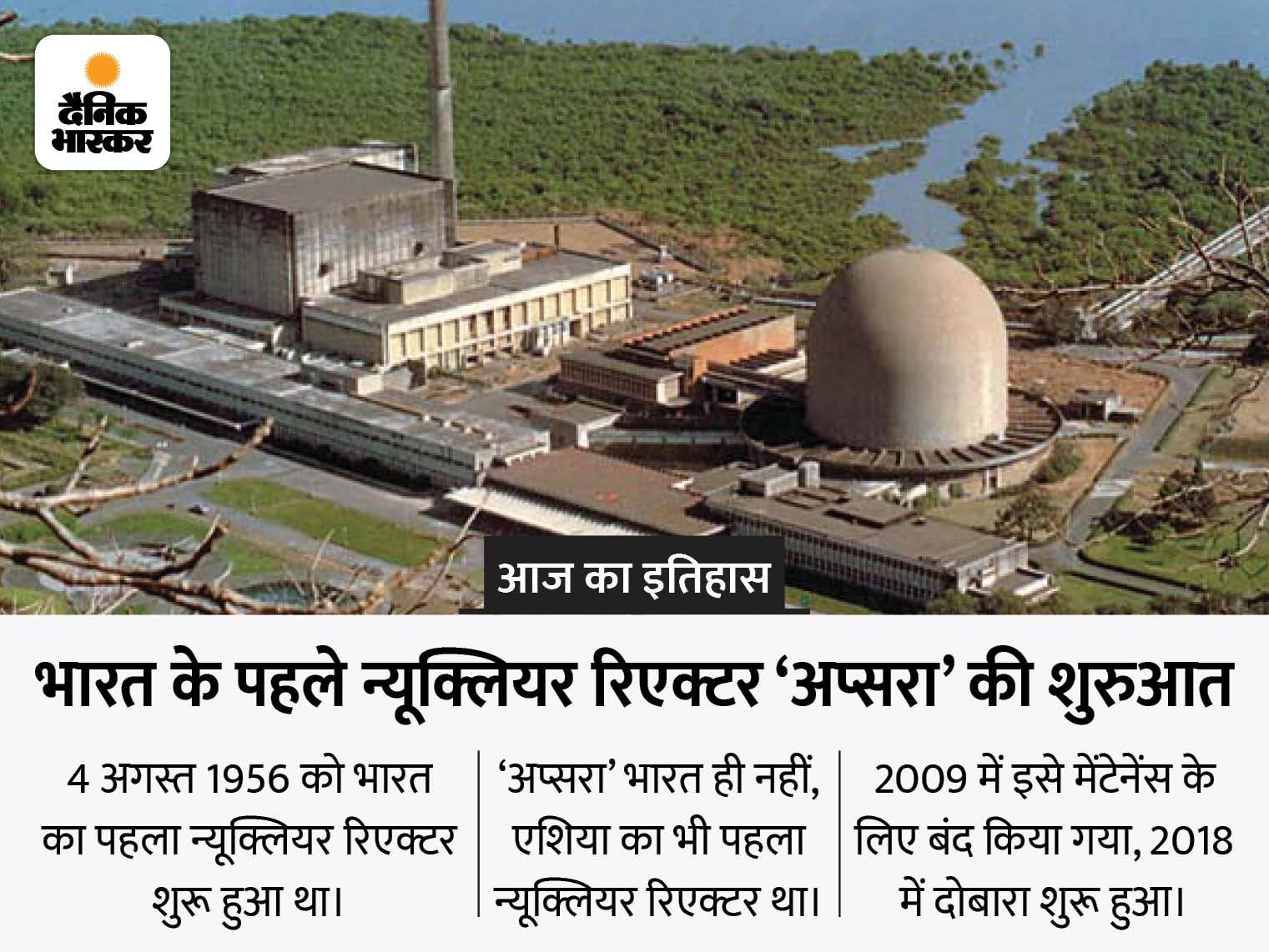 भारत में एशिया का पहला न्यूक्लियर रिएक्टर शुरू हुआ, रिएक्टर से नीली किरणें निकलती देख PM नेहरू ने इसे 'अप्सरा' नाम दिया|देश,National - Dainik Bhaskar