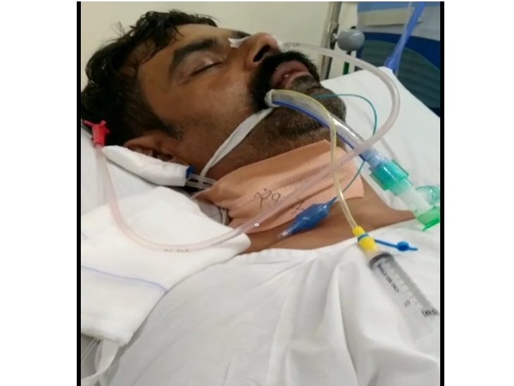 अस्पताल में भर्ती पीड़ित के शरीर में हाथ को छोड़कर दूसरा कोई मूवमेंट नहीं; 5 लाख इलाज पर खर्च फिर भी पहचान नहीं पा रहा|इंदौर,Indore - Dainik Bhaskar