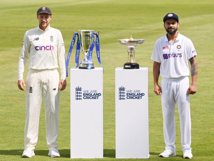टेस्ट सीरीज की ट्रॉफी के साथ इंग्लैंड के कप्तान जो रूट और भारतीय कप्तान विराट कोहली।