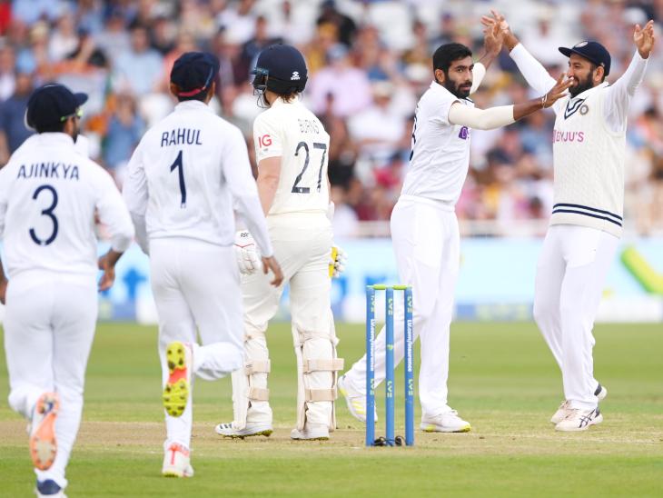 जसप्रीत बुमराह ने इंग्लैंड को पहला झटका दिया। उन्होंने रोरी बर्न्स को शून्य पर पवेलियन भेजा।
