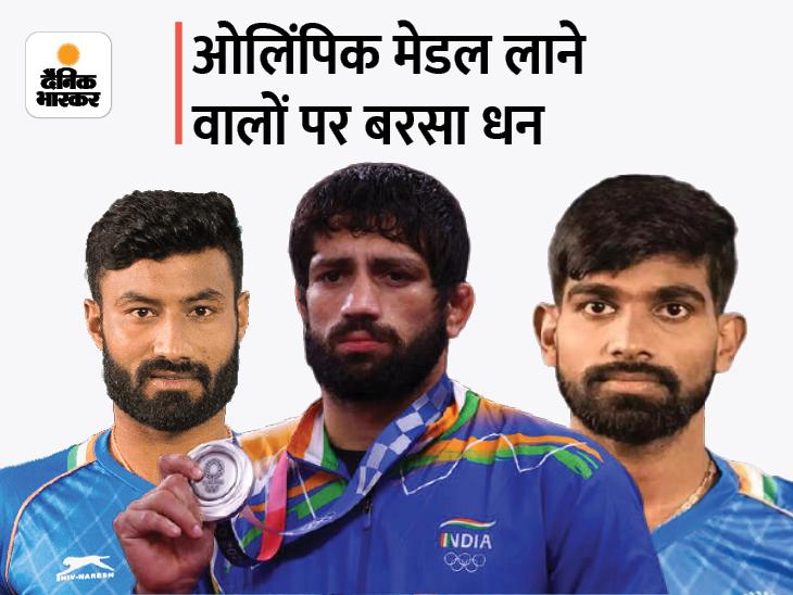 सिल्वर मेडल विनर रवि दहिया को मिलेंगे 4 करोड़ रुपए, क्लास-1 नौकरी और HSVP में प्लॉट; दोनों हॉकी खिलाड़यों को भी ढाई-ढाई करोड़, नौकरी और प्लॉट|करनाल,Karnal - Dainik Bhaskar