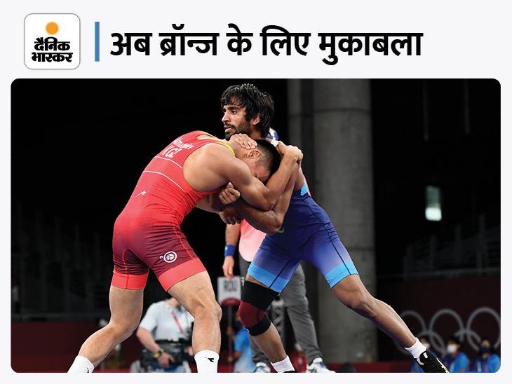 अजरबैजान के पहलवान पर लीड के बाद पूनिया ने पॉइंट गंवाए, अब ब्रॉन्ज के लिए खेलेंगे|टोक्यो ओलिंपिक,Tokyo Olympics - Dainik Bhaskar