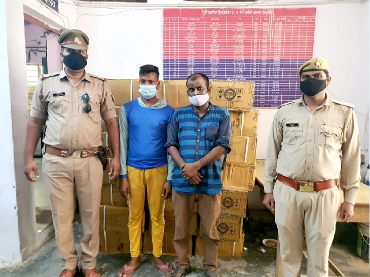 आलू की बोरियों के बीच में छिपाकर ले जाई जा रहीं थी नशे में प्रयोग होने वाली सिरप, दो गिरफ्तार|प्रयागराज (इलाहाबाद),Prayagraj (Allahabad) - Dainik Bhaskar
