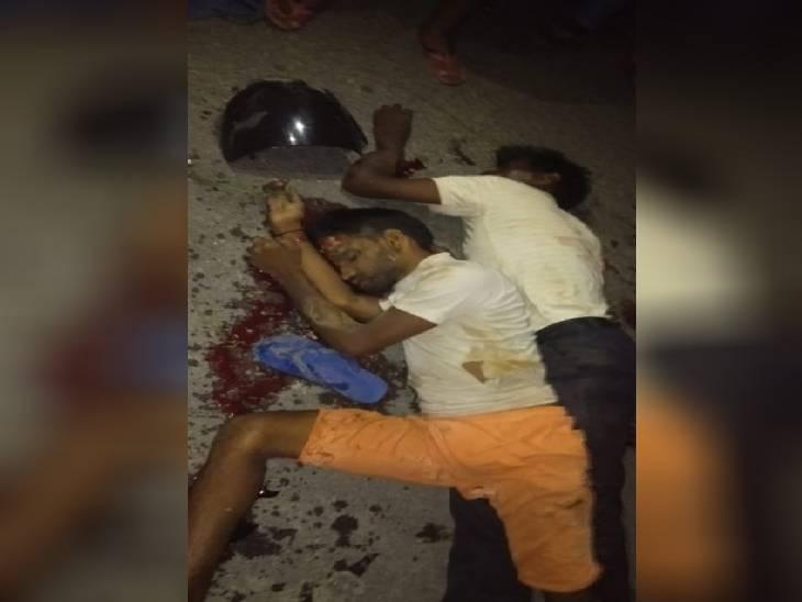 सुल्तानपुर में एक सड़क हादसे में एक ही परिवार के दो लोगों की मौत हो गई। - Dainik Bhaskar