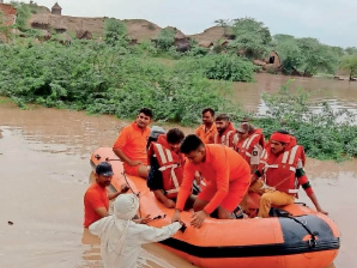 100 से ज्यादा गांव-ढाणियां अभी भी बाढ़ में घिरी हैं, ग्रामीणों ने बीहड़ों में बनाए आशियाने|धौलपुर,Dholpur - Dainik Bhaskar