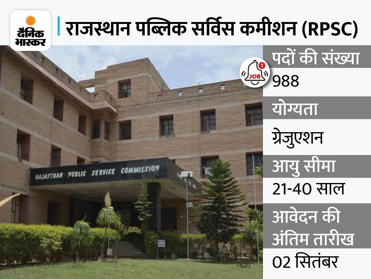 RPSC ने विभिन्न 988 पदों पर भर्ती के लिए जारी किया नोटिफिकेशन, 2 सितंबर आवेदन की आखिरी तारीख|करिअर,Career - Dainik Bhaskar