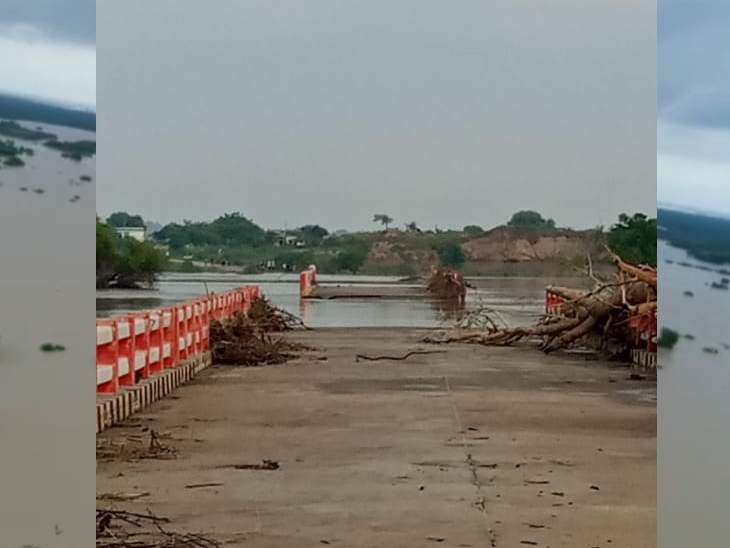 बाढ़ ने जखमौली का पुल तोड़ा, अब भिंड के नयागांव से UP के माधौगढ़-रामपुरा का आवागमन ठप|भिंड,Bhind - Dainik Bhaskar