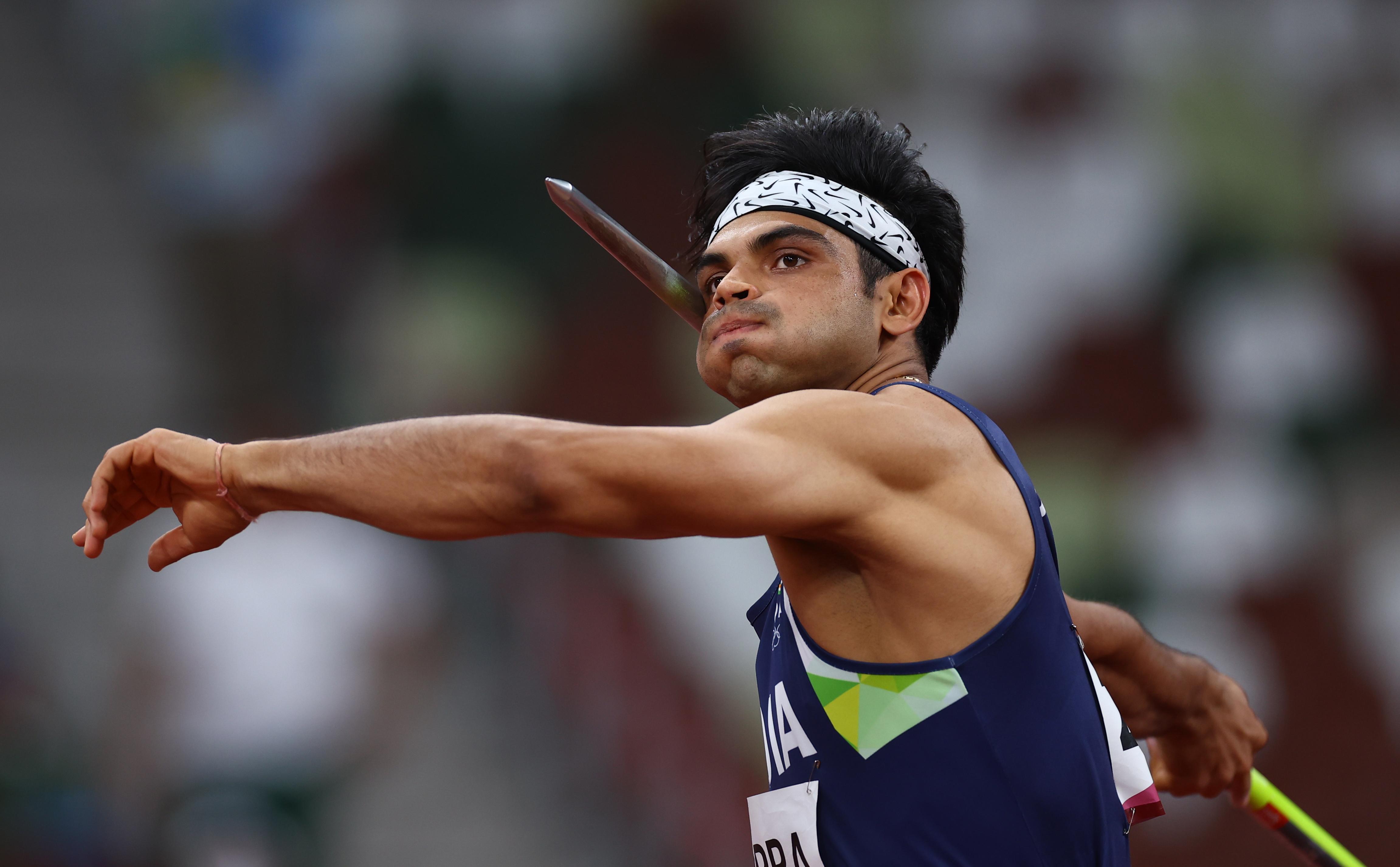 फाइनल इवेंट के दौरान नीरज चोपड़ा। उन्होंने पहले थ्रो में 87.03 मी. और दूसरे थ्रो में 87.58 मी. दूर भाला फेंका।