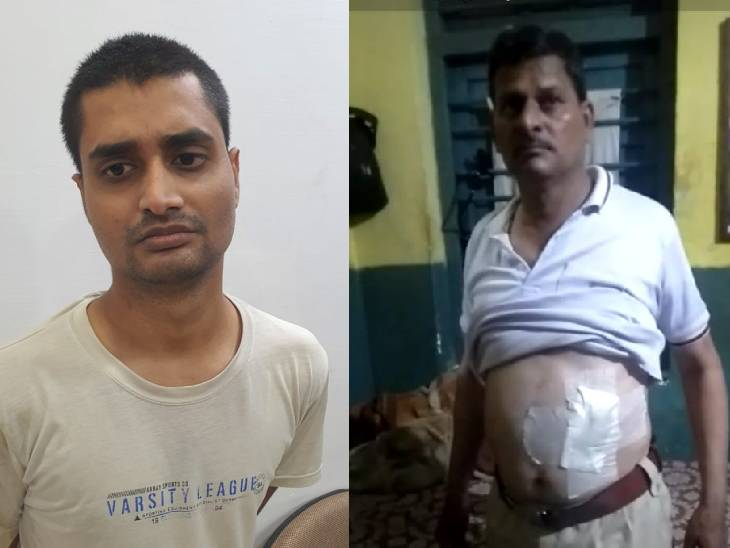 टीशर्ट पहने आरोपी इंजीनियर हर्ष मीणा। दूसरी तस्वीर में घायल एसआई। - Dainik Bhaskar