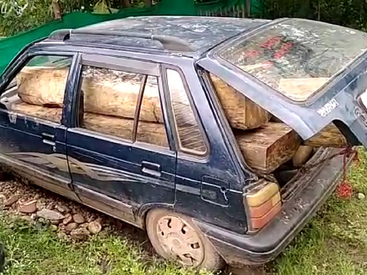 सागौन के साथ कार जब्त। - Dainik Bhaskar