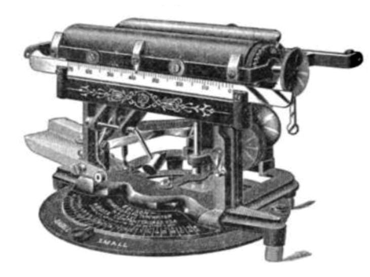 मिमियोग्राफ का शुरुआती मॉडल कुछ इस तरह दिखता था।