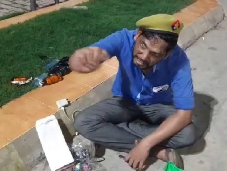बोला- जो करना है कर लो, मार डालूंगा; आने-जाने वालों से कर रहा गाली-गलौच, स्टेशन में हंगामे का वीडियो आया सामने|इटावा,Etawah - Dainik Bhaskar