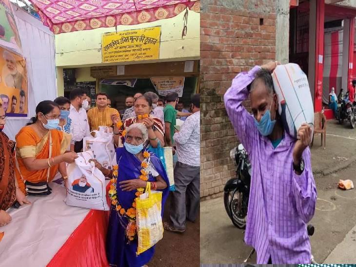 प्रदेश उपाध्यक्ष सुमित्रा बाल्मीक अन्न उस्तव में हितग्रायों को खाद्यान्न की बोरी वितरित करते हुए।