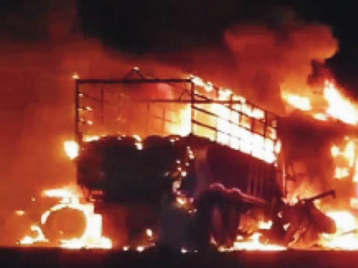 राजकोट-अहमदाबाद हाईवे पेट्रोल से भरे टैंकर और ट्रक के बीच जोरदार भिडंत, आग लगने से ट्रक चालक झुलसा, अस्पताल में मौत राजकोट,Raikot - Dainik Bhaskar