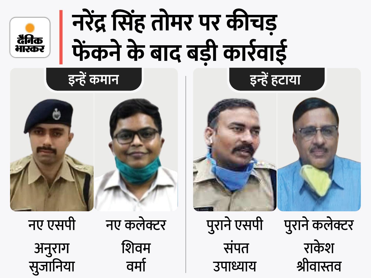 श्योपुर में हालात पर काबू नहीं कर पाने पर कलेक्टर-ADM और SP को हटाया, केंद्रीय मंत्री की गाड़ी पर पीड़ितों ने फेंका था कीचड़|ग्वालियर,Gwalior - Dainik Bhaskar