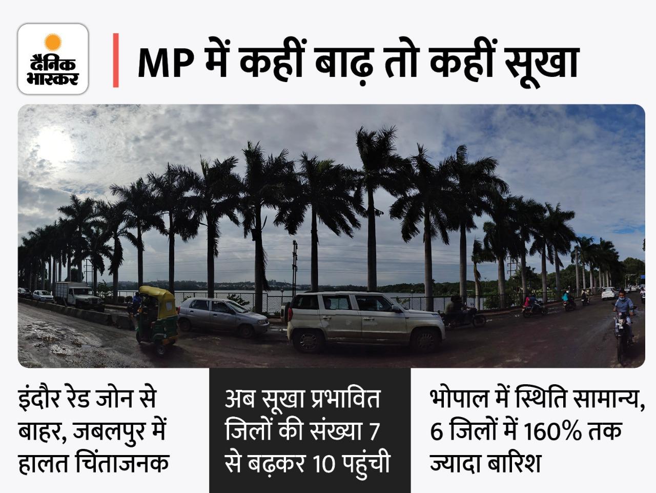 पिछले हफ्ते सूखे जिलों की संख्या 7 थी, वहीं गुना और श्योपुर में 7 दिन में दो माह के बराबर पानी गिरा; इंदौर रेड जोन से निकला, भोपाल सामान्य|मध्य प्रदेश,Madhya Pradesh - Dainik Bhaskar
