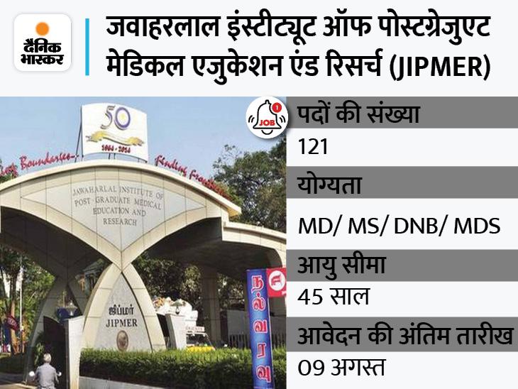 JIPMER ने सीनियर रेजिडेंट के 121 पदों पर भर्ती के लिए मांगे आवेदन, 09 अगस्त आवेदन की आखिरी तारीख|करिअर,Career - Dainik Bhaskar