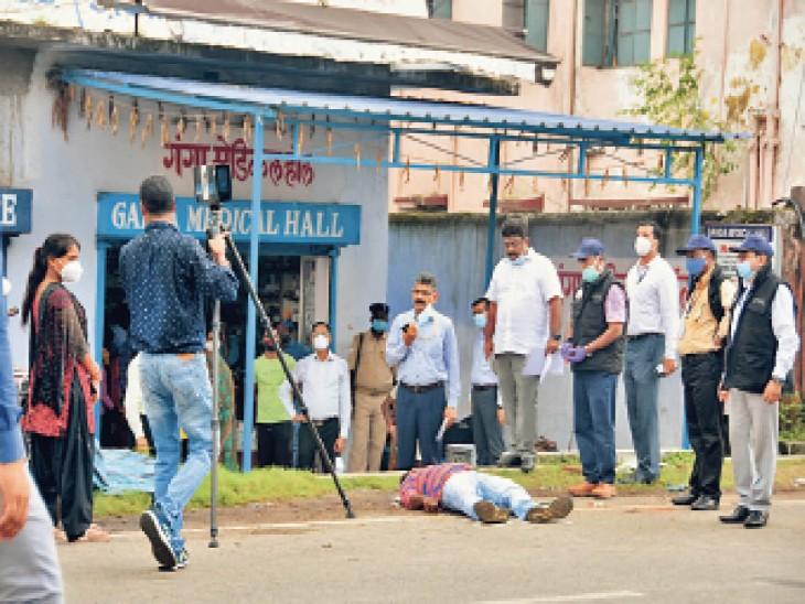 एडीजे की माैत के मामले में घटनास्थल पर सीन रिक्रिएट करती सीबीआई। - Dainik Bhaskar