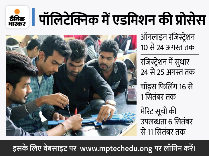 इंजीनियरिंग डिप्लोमा और बीफार्मा-डीफार्मा में मंगलवार से होगा रजिस्ट्रेशन, चॉइस फिलिंग 16 अगस्त से 1 सितंबर तक|मध्य प्रदेश,Madhya Pradesh - Dainik Bhaskar