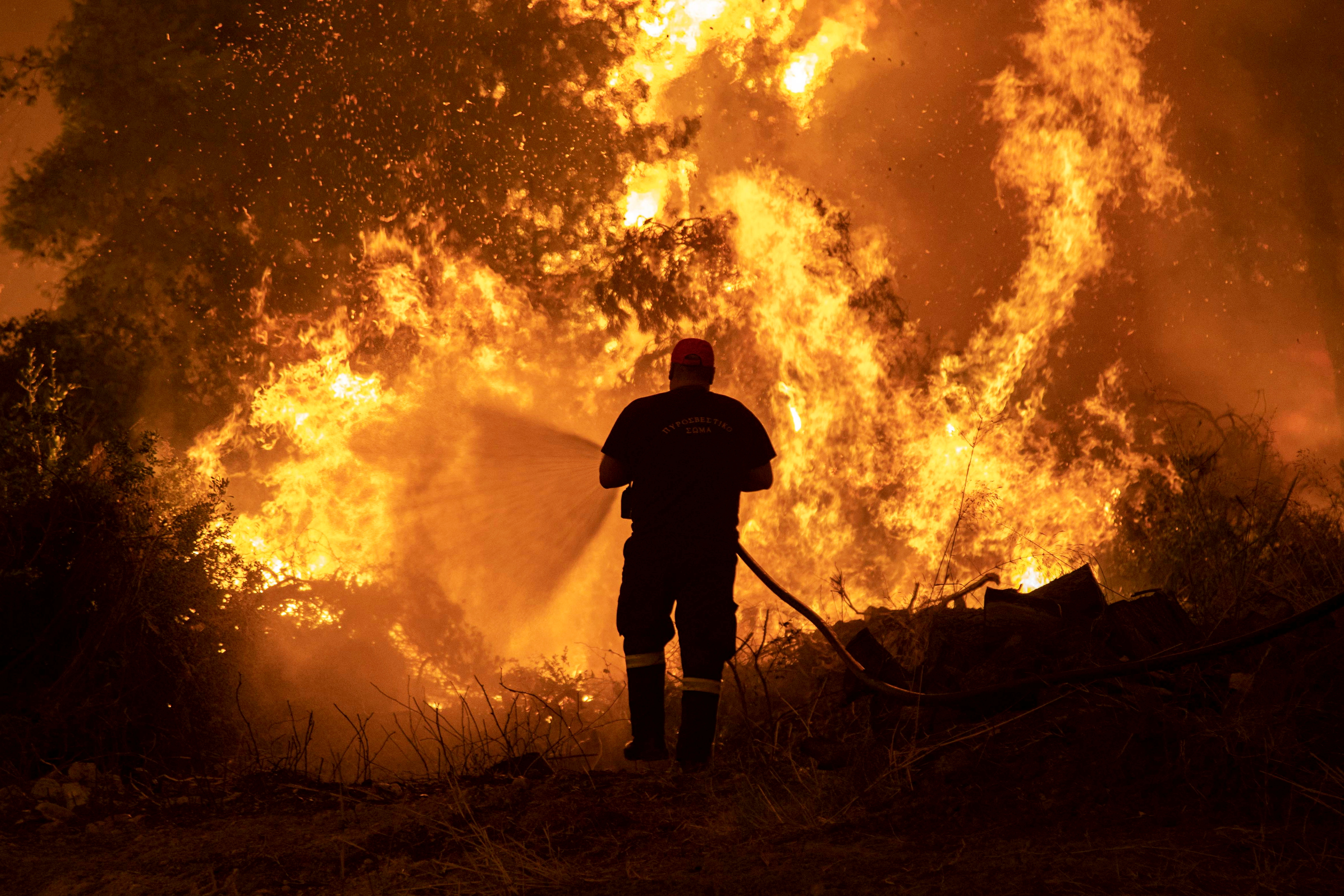10% of Greece's forest has been destroyed in this fire.  Firefighters are trying day and night to put out the fire.