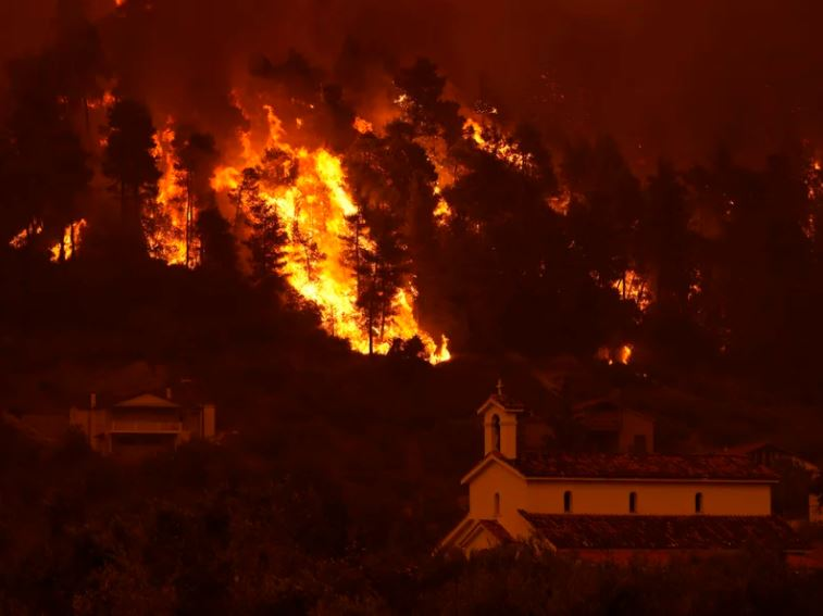 The fire is spreading more rapidly due to strong winds blowing in the forests along the seashore.