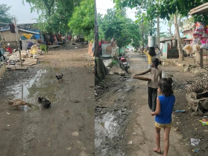 नाथ मोहल्ले में घूमते बच्चे।