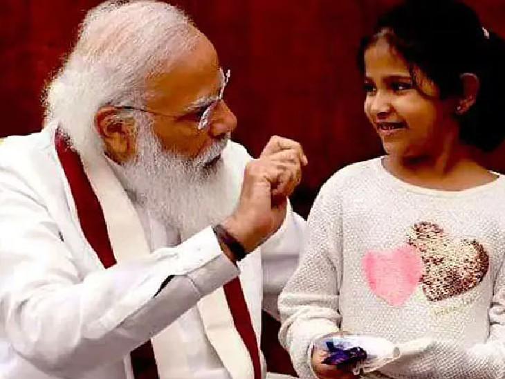 यह तस्वीर प्रधानमंत्री मोदी और अनीशा के बीच हुई मुलाकात के दौरान की है। इस दौरान दोनों खूब हंसी-मजाक करते हुए नजर आए। - Dainik Bhaskar