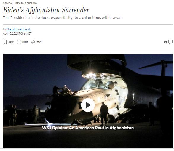 वाल स्ट्रीट जर्नल ने लिखा कि ये बाइडेन का अफगानिस्तान में सरेंडर है