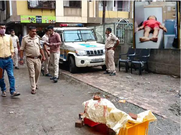 जमीन पर गिरते ही महिला की मौत हो चुकी थी। इनसेट में ढाई साल के बेटे का शव। - Dainik Bhaskar