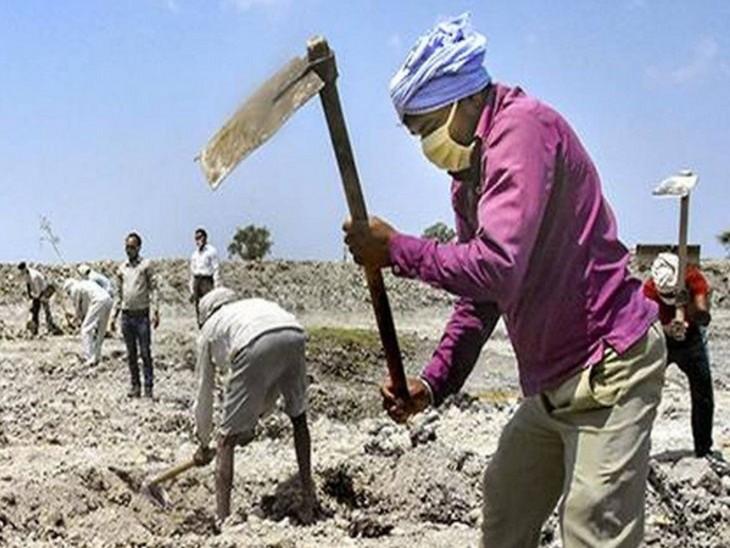 मनरेगा के तहत काम करते मजदूर - Dainik Bhaskar