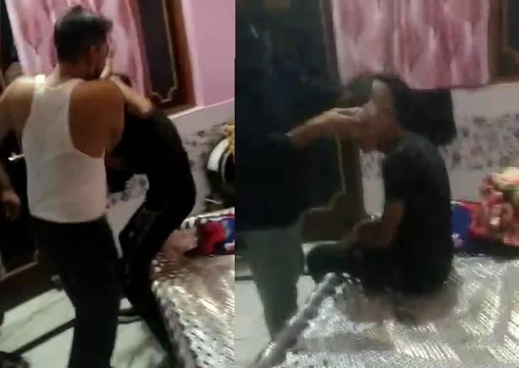 अमरोहा में प्रेमिका से रात में मिलने पहुंचा था प्रेमी, परिजनों ने पकड़ा; पीटने के बाद सिर गंजा कर छोड़ा, सामने आया वीडियो|अमरोहा,Amroha - Dainik Bhaskar