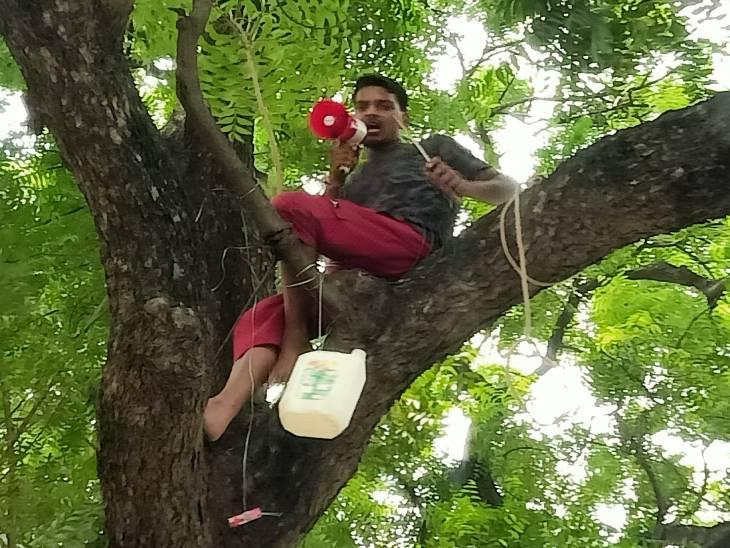 उन्नाव में युवक ने करीब 3 घंटे तक किया हंगामा; चाकू, पेट्रोल और लाइटर लेकर पेड़ पर चढ़ गया, आश्वासन के बाद नीचे उतरा|उन्नाव,Unnao - Dainik Bhaskar