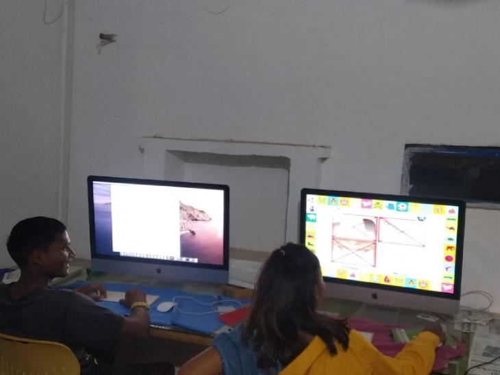 गांव में ही बच्चों के लिए कंप्यूटर सिखाने की सुविधा शुरू की गई है। बच्चे ऑनलाइन क्लास भी करते हैं। फोटो- बेयरफुट स्केट बोर्ड ऑर्गेनाइजेशन