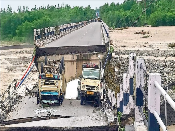 क्षतिग्रस्त रानी पोखली पुल। - Dainik Bhaskar