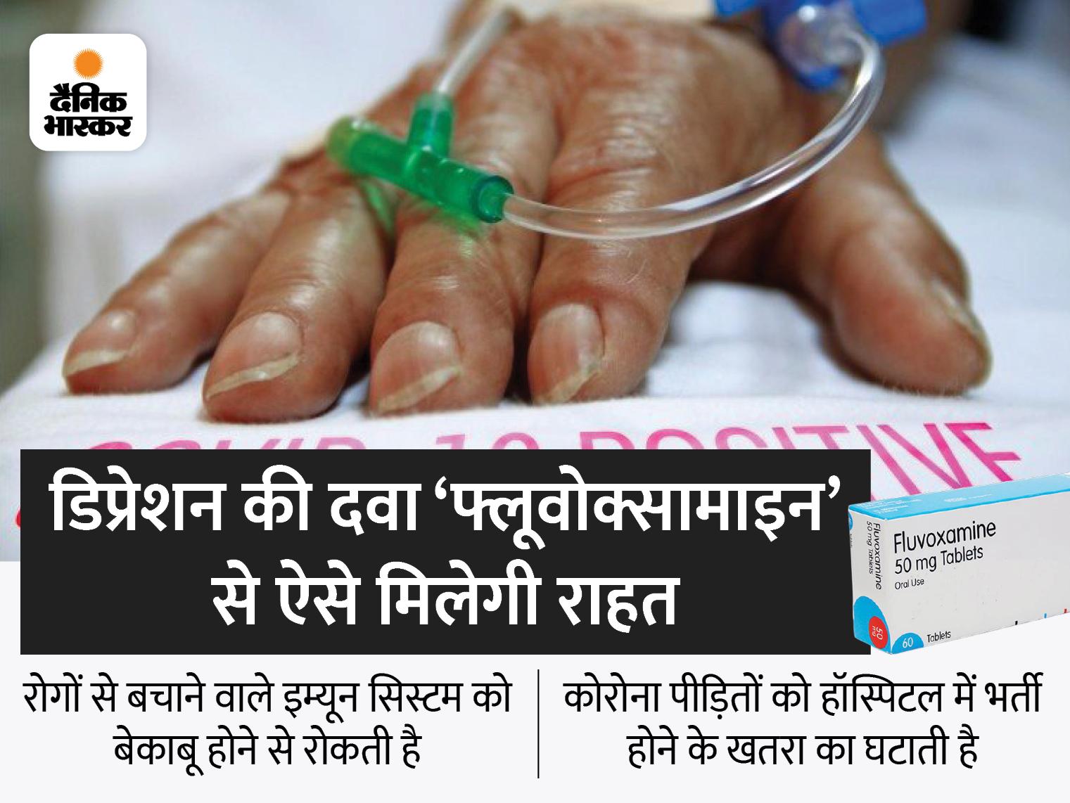 डिप्रेशन की दवा 'फ्लूवोक्सामाइन' कोविड होने पर हॉस्पिटल में भर्ती होने का खतरा घटाती है, यह इम्यून सिस्टम को बेकाबू होने से भी रोकती है|लाइफ & साइंस,Happy Life - Dainik Bhaskar