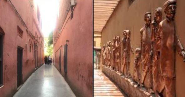जलियांवाला बाग गलियारा: पहले संकरा गलियारा था लेकिन अब मूर्तियां लगा दी गईं।