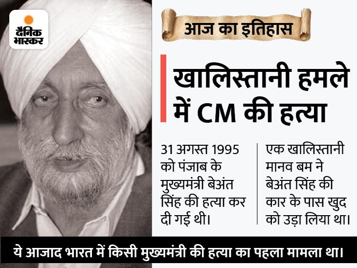 26 साल पहले देश में पहली बार किसी मुख्यमंत्री की हत्या हुई, मानव बम हमले में मारे गए थे पंजाब के CM बेअंत सिंह देश,National - Dainik Bhaskar