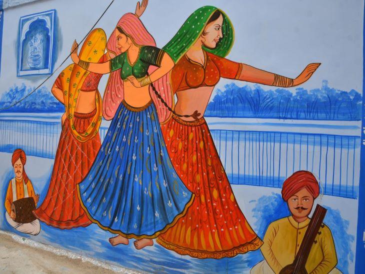 राजस्थान की पारंम्परिक संगीत व नृत्य की छवी प्रस्तुत करती यह पेंटिंग