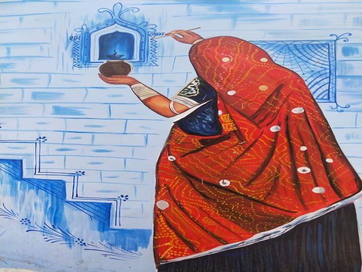 मारवाड़ में घर के बाहर कवलें आळे यानी छोटी सी जगह जहां दीपक रखा जाए की परम्परा है। इस परम्परा को पेंटिंग के माध्यम से दर्शाया गया है। पचेटिया हिल्स के रास्ते में दीवार पर बनी यह पेंटिंग मारवाड़ की इस परम्परा को दर्शाती नजर आ रही है। कवलें आळों को कोरनी व मांडने से सजाने की भी परम्परा है। जिसे बखूबी दर्शाया गया है।