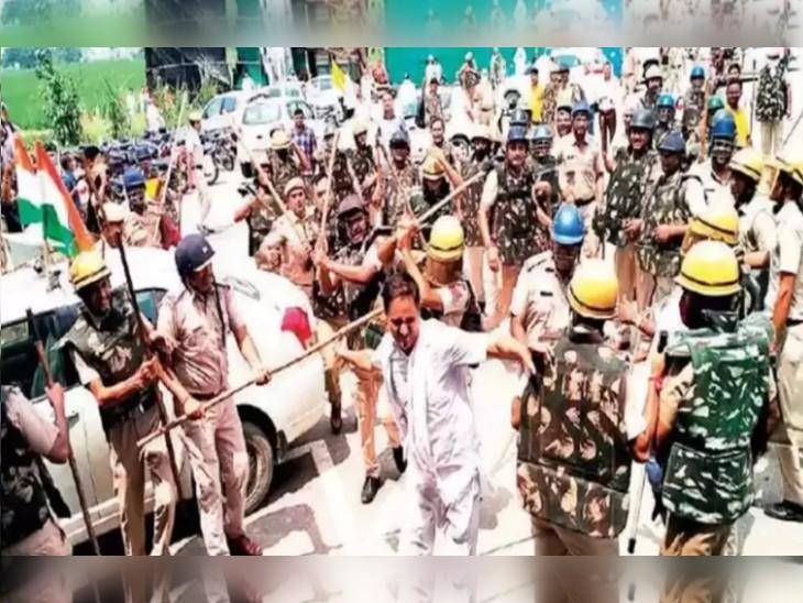 किसानों पर लाठियां भांजती हरियाणा पुलिस की टीम। -फाइल फोटो
