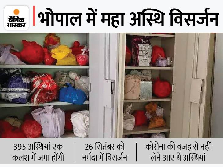 सुभाष नगर विश्राम घाट विधि विधान से करीब 395 अस्थियों का एक साथ विसर्जित करेगा; 26 सितंबर को सजे-धजे ट्रक से नर्मदा घाट ले जाया जाएगा|भोपाल,Bhopal - Dainik Bhaskar