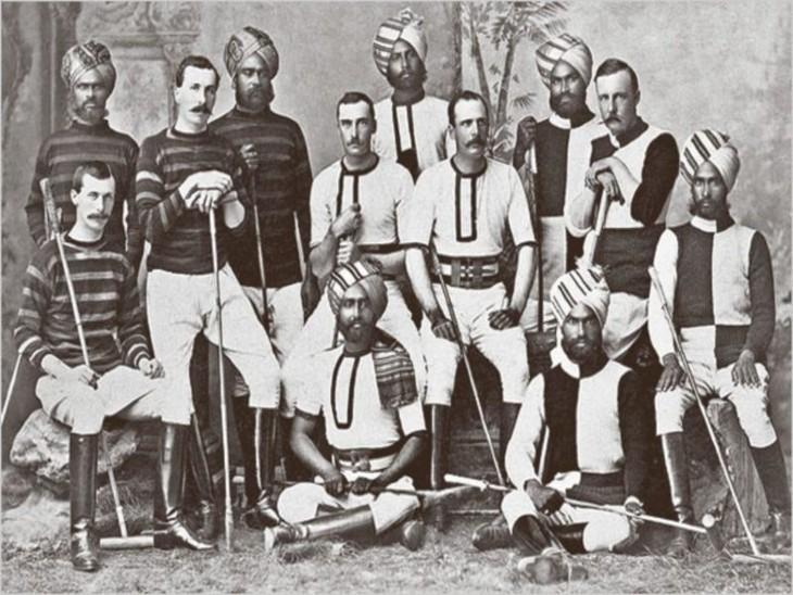 हैदराबाद में ब्रिटिश आर्मी पोलो टीम के खिलाड़ी।