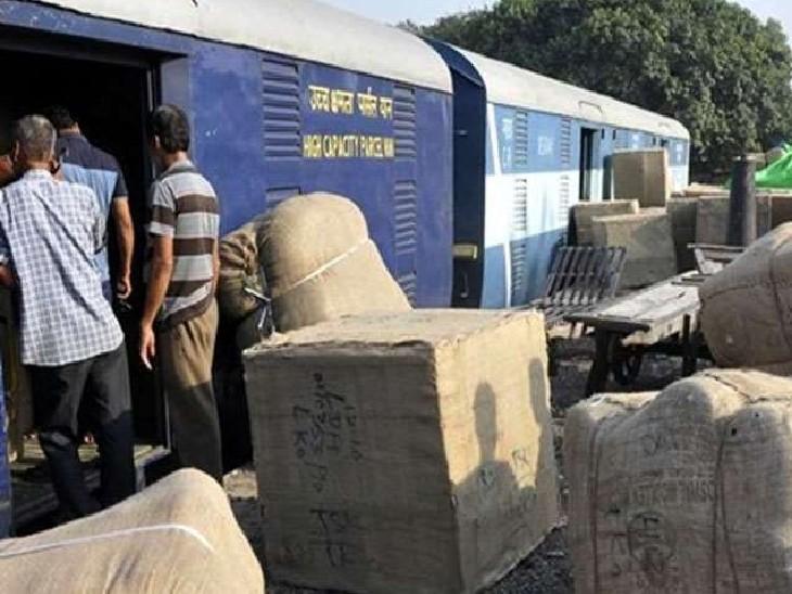 ट्रेन में पार्सल ढुलाई (फाइल फोटो)। - Dainik Bhaskar