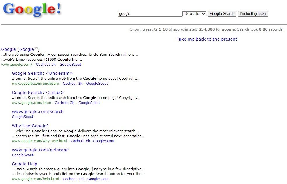 """1998 में गूगल का सर्च पेज इस तरह दिखता था। अगर आप गूगल पर """"Google in 1998"""" सर्च करेंगे तो आपको ये पेज दिखाई देगा।"""