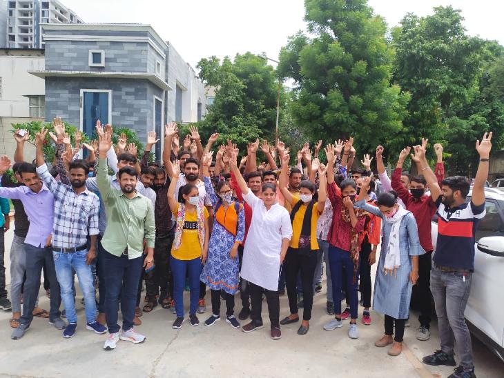 लंबित भर्ती प्रक्रिया पूरी करने की मांग को लेकर युवाओं ने किया विरोध, बेरोजगारों के प्रदर्शन के बाद देर शाम जारी हुआ परिणाम|जयपुर,Jaipur - Dainik Bhaskar