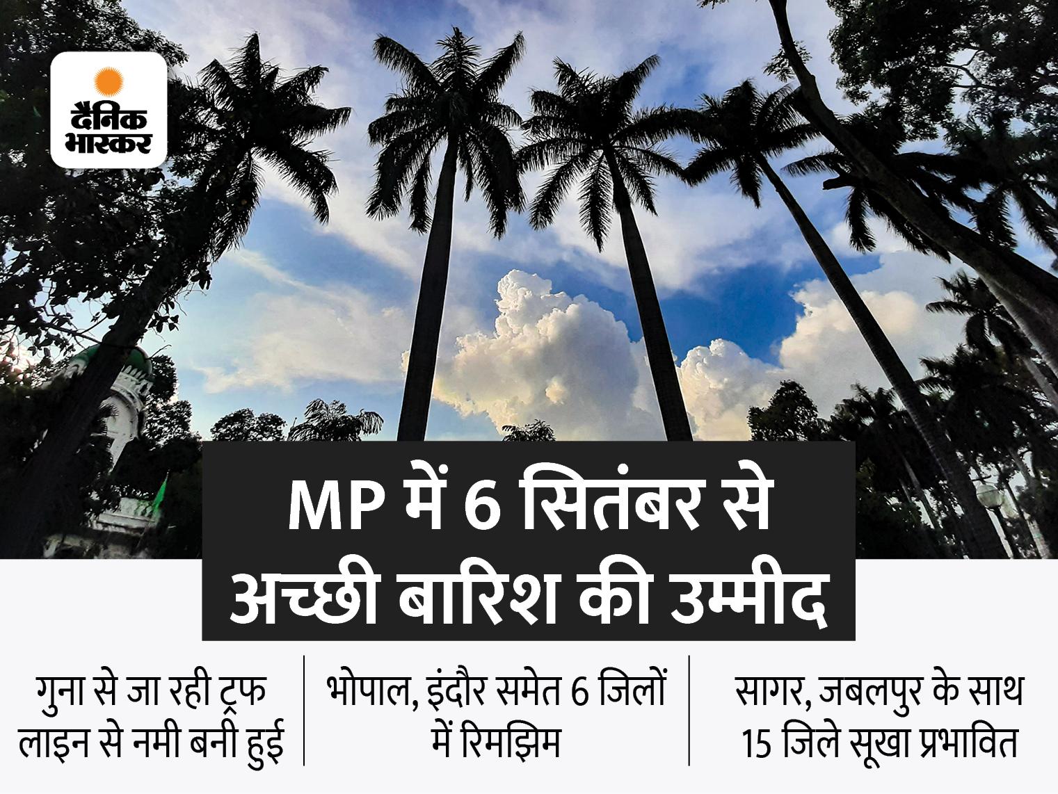 भोपाल, इंदौर, जबलपुर समेत 6 जिलों में गरज-चमक के साथ बारिश; 15 जिले सूखे की चपेट में|मध्य प्रदेश,Madhya Pradesh - Dainik Bhaskar