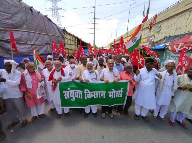 कृषि कानूनों के खिलाफ 262वें दिन भी धरना जारी, सरकारों के खिलाफ जुलूस निकाला|गाजियाबाद,Ghaziabad - Dainik Bhaskar