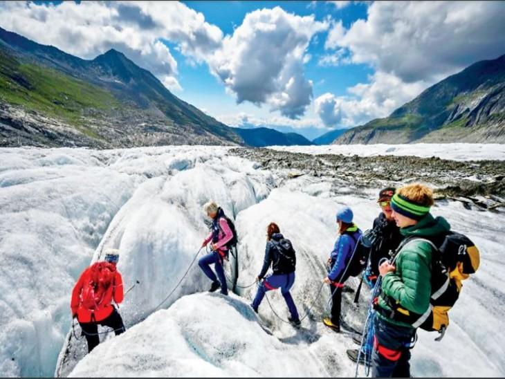 आल्प्स के ग्लेशियर की मोटाई हर साल डेढ़ मीटर कम हो रही, ग्लेशियरों के पिघलने की रफ्तार और तेजी से बढ़ रही|विदेश,International - Dainik Bhaskar