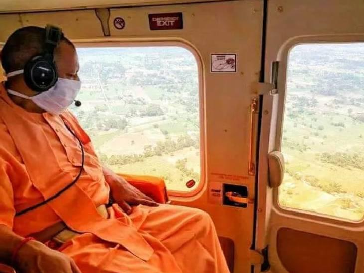 सीएम योगी आदित्यनाथ ने शनिवार को महराजगंज के बाढ़ प्रभावित क्षेत्रों का हवाई दौरा किया। - Dainik Bhaskar